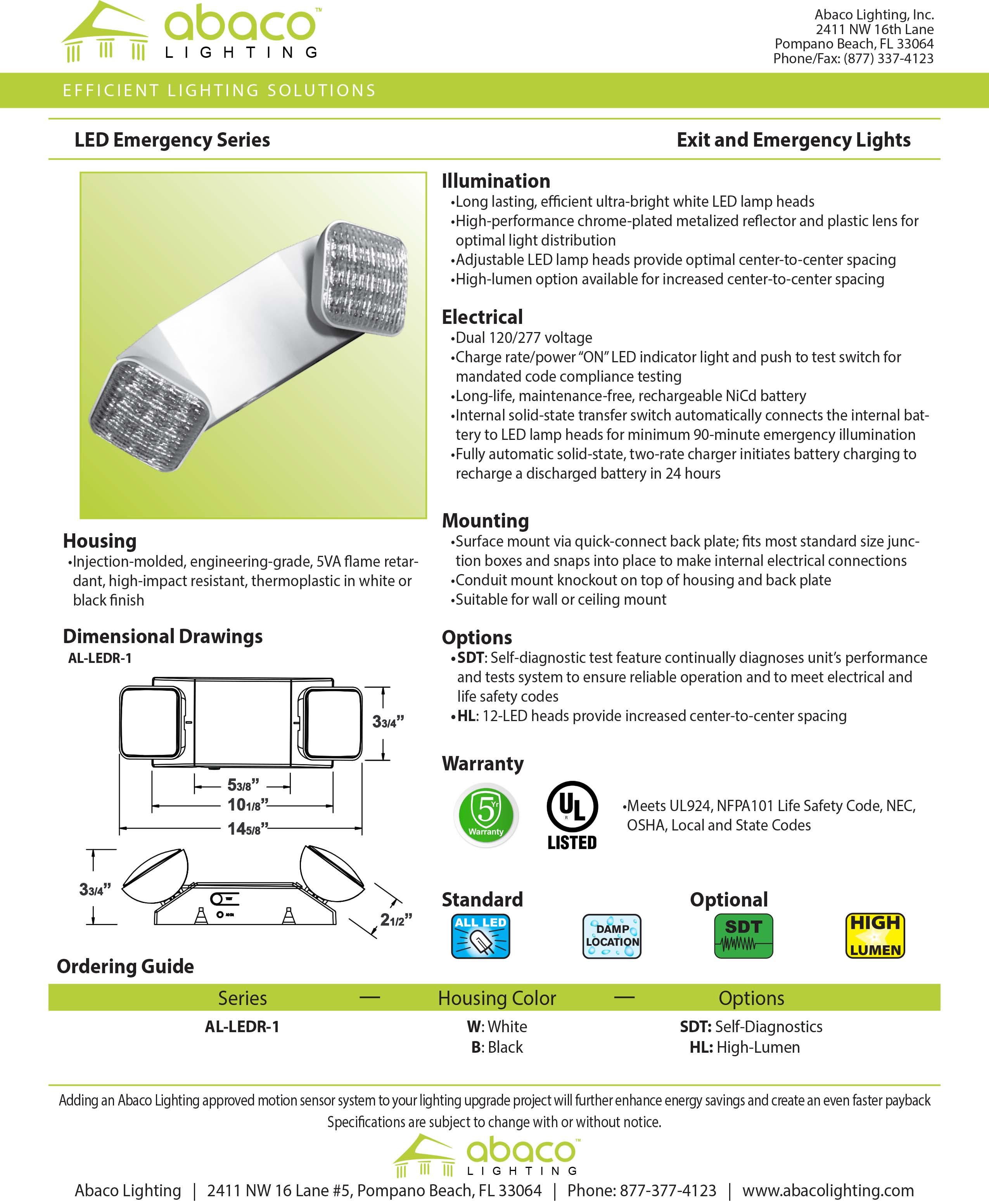Exit Emergency Lighting Abaco Fully Automatic Light Led