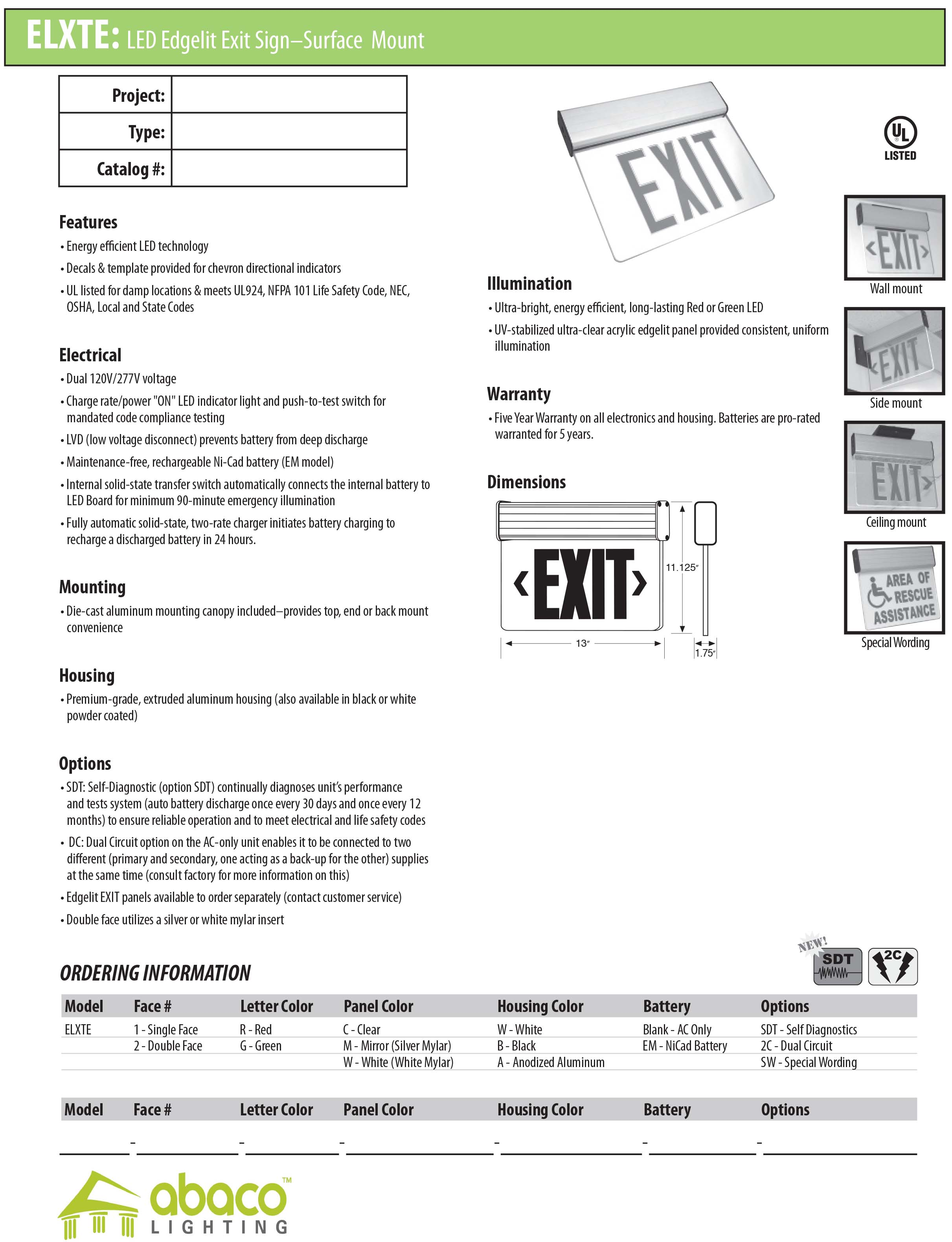 Exit Emergency Lighting Abaco Automatic Low Power Light Led Edgelit Signsurface Mount